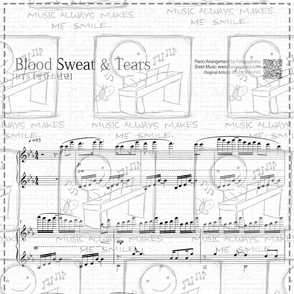 Piano Sheet Music Midi: Blood Sweat & Tears [ Sheet Music / Midi / Mp3