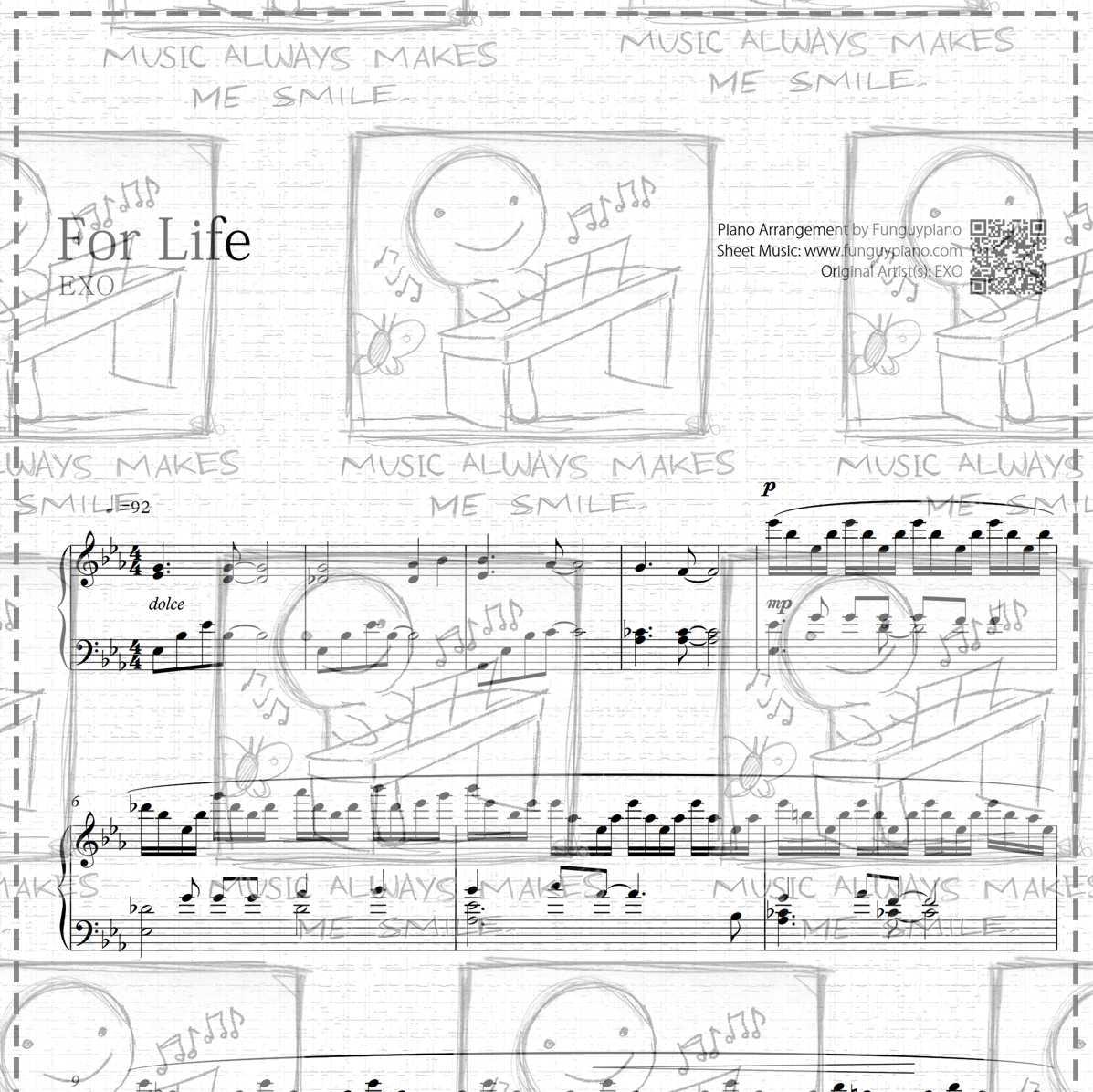 Piano Sheet Music Midi: EXO - For Life [ Sheet Music / Midi / Mp3 ]