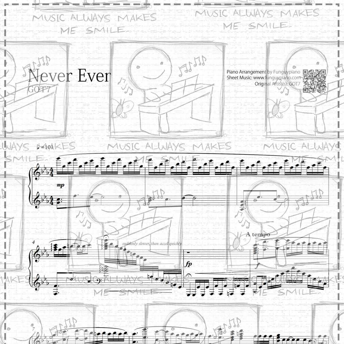 Piano Sheet Music Midi: GOT7 - Never Ever [ Sheet Music / Midi / Mp3 ]