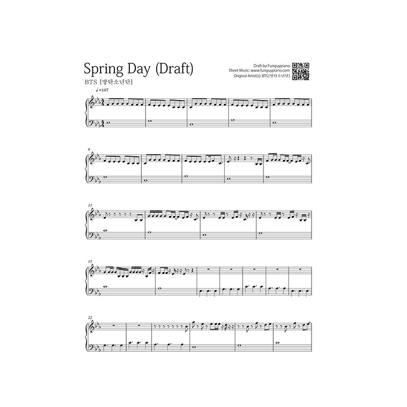Bts Spring Day Free Piano Sheet Funguypiano