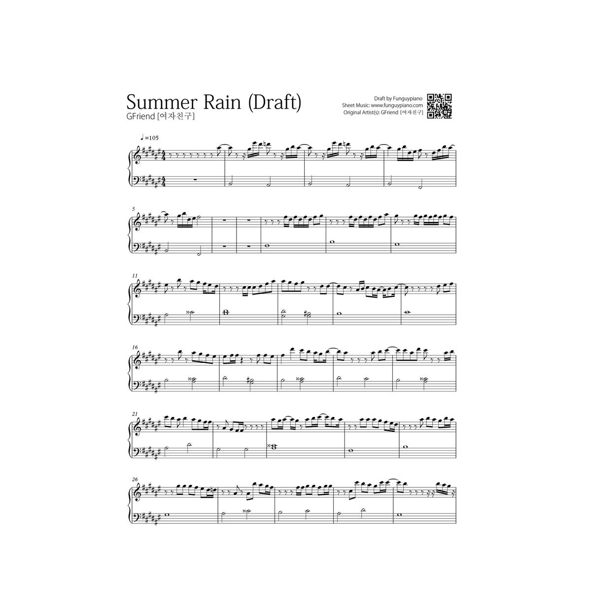 Gfriend Summer Rain Free Piano Sheet Funguypiano