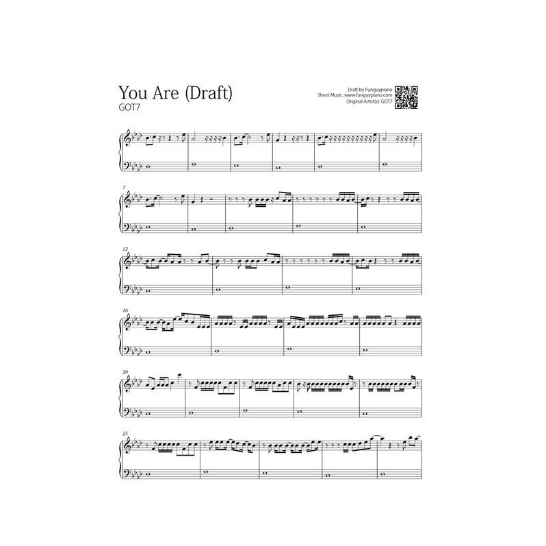 GOT7 - You Are | Free Piano Sheet | Funguypiano