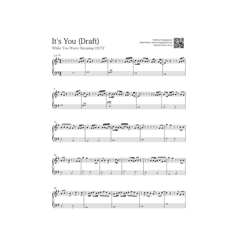 While You Were Sleeping Ost2 Its You Free Piano Sheet