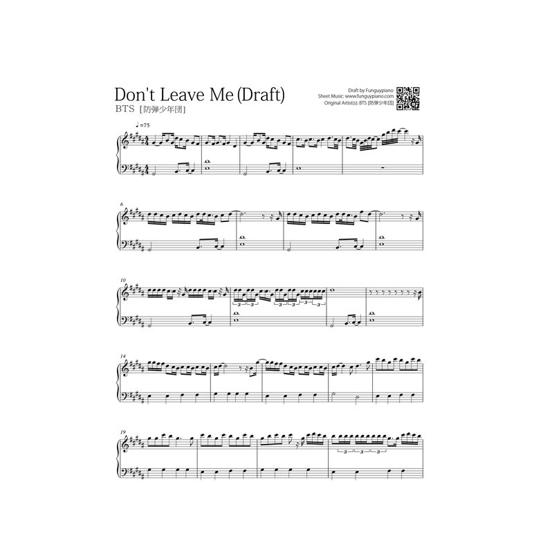 Bts Dont Leave Me Free Piano Sheet Funguypiano