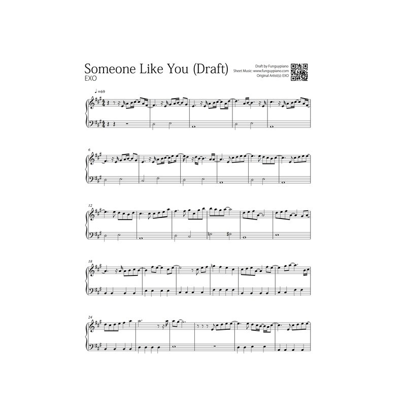 Exo Cbx Someone Like You Free Piano Sheet Funguypiano