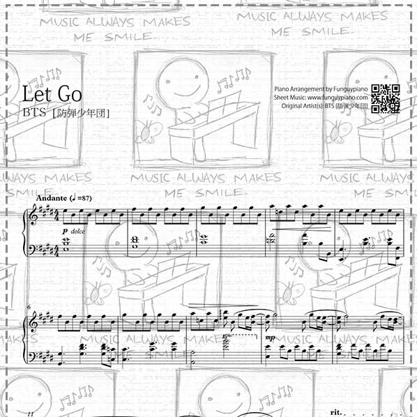 BTS - Let Go [ Sheet Music / Midi / Mp3 ]