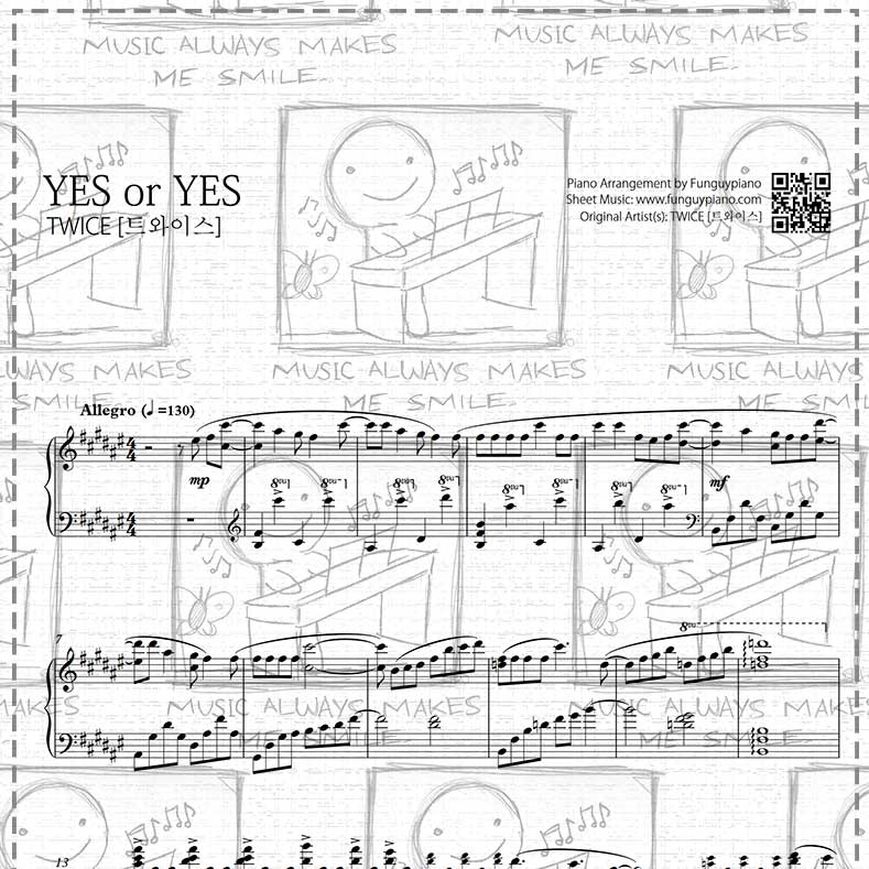 Piano Sheet Music Midi: Twice - YES Or YES [ Sheet Music / Midi / Mp3 ]